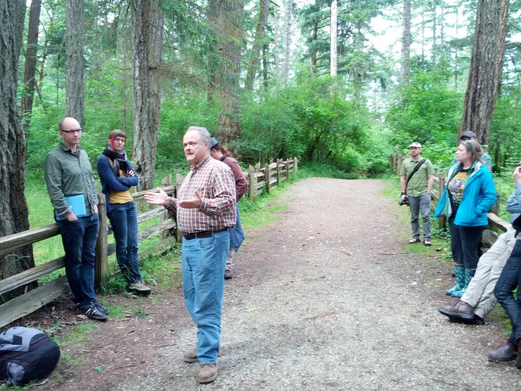 Richard Mackie discusses the history of logging in Comox Valley among rare stand of remnant old-growth forest.