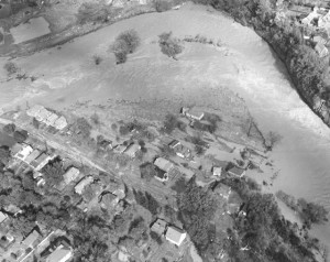 Aerial photograph of aftermath of Hurricane Hazel, Humber River at Raymore Drive. Photo courtesy of Environment Canada