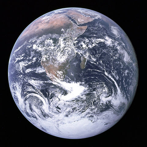 he Blue Marble: View of the earth as seen by the Apollo 17 crew traveling toward the moon. Source, Wikipedia