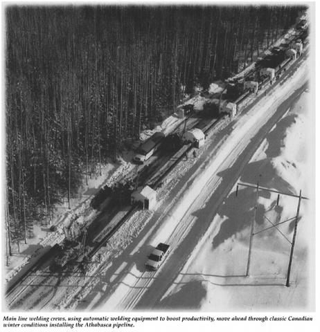 Construction of the Athabasca Pipeline, 1998. Source: Oil and Gas Journal, 26 April 1999, p. 61.