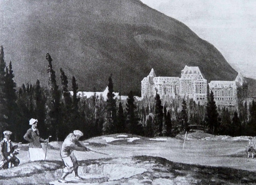 "Figure 2 – ""The New Golf Course at Banff"" reproduction of an Adam Sherriff Scott painting of the Banff golf course from a Banff Springs Hotel tourist booklet, ""Banff Golf Course,"" 1929. Pamphlet Collection. Courtesy Canadian Pacific Archives."