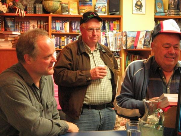 Photo from the Volume One Bookstore, Duncan, on October 8th, 2009. It shows (L-R), Richard Mackie (author, Mountain Timber), Al Skene, and Dick McQuinn (retired loggers).