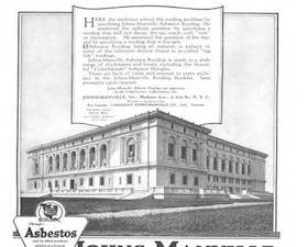 Advertisement for Asbestos roofing by Johns-Manville Inc. Architectural Forum Vol 35 Issue 1, 1921.