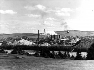 Fraser Companies Ltd.'s pulp mill in Edmundston, New Brunswick, circa 1950s. Fraser was one of several large pulp and paper companies in New Brunswick that benefitted from the regional economic development programs in the 1960s and 1970s, particularly through increased control of the province's Crown (public) forests. (Provincial Archives of New Brunswick, P225-1929)