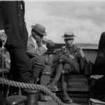 A.G. Tansley of Cambridge, England seated, between F.E. Clements of Minneapolis, USA (left) and G.C. Druce of Surrey, England (right) on a boat trip during the 1911 International Phytogeographical Excursion of the British Isles.