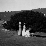 Mrs. Clements, Mrs. Cowles and unidentified woman in the South Downs, England. Photographer unknown.