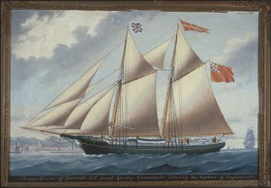 "Anonymous, ""Maggie Louisa"" of Yarmouth, Israel Goudey, Commander, Entering the harbour of Leghorn (1866), courtesy McCord Museum"