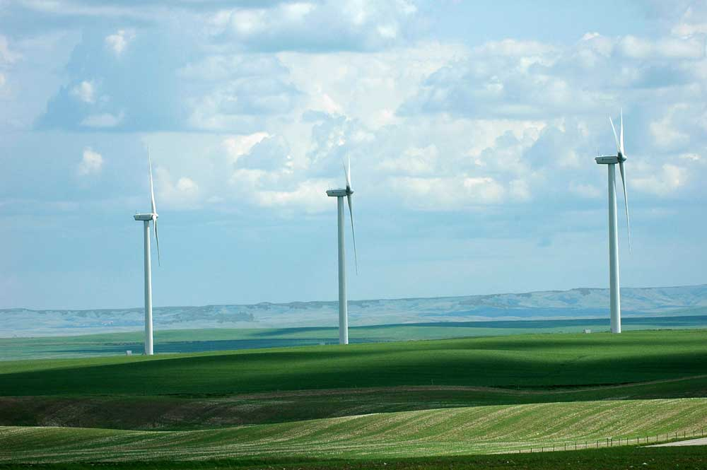 Three of the 20 wind turbines at the Magrath Wind Power Project in southern Alberta. Source Wikipedia.