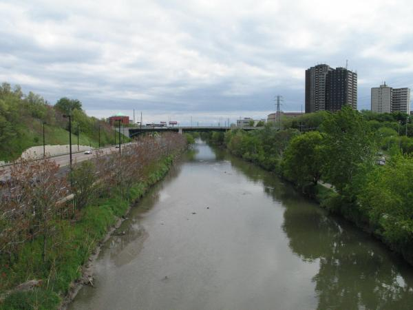 Lower Don River, looking south from the Riverdale foot bridge