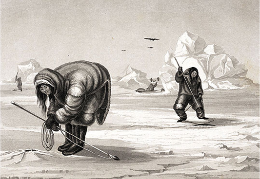 1. Inuit man and woman waiting for seals at breathing holes, from William Edward Parry, Journal of a Second Voyage for the Discovery of a North-west Passage from the Atlantic to the Pacific Performed in the Years 1821-23 in H.M. Ships the Fury and Hecla. London: John Murray, 1824.