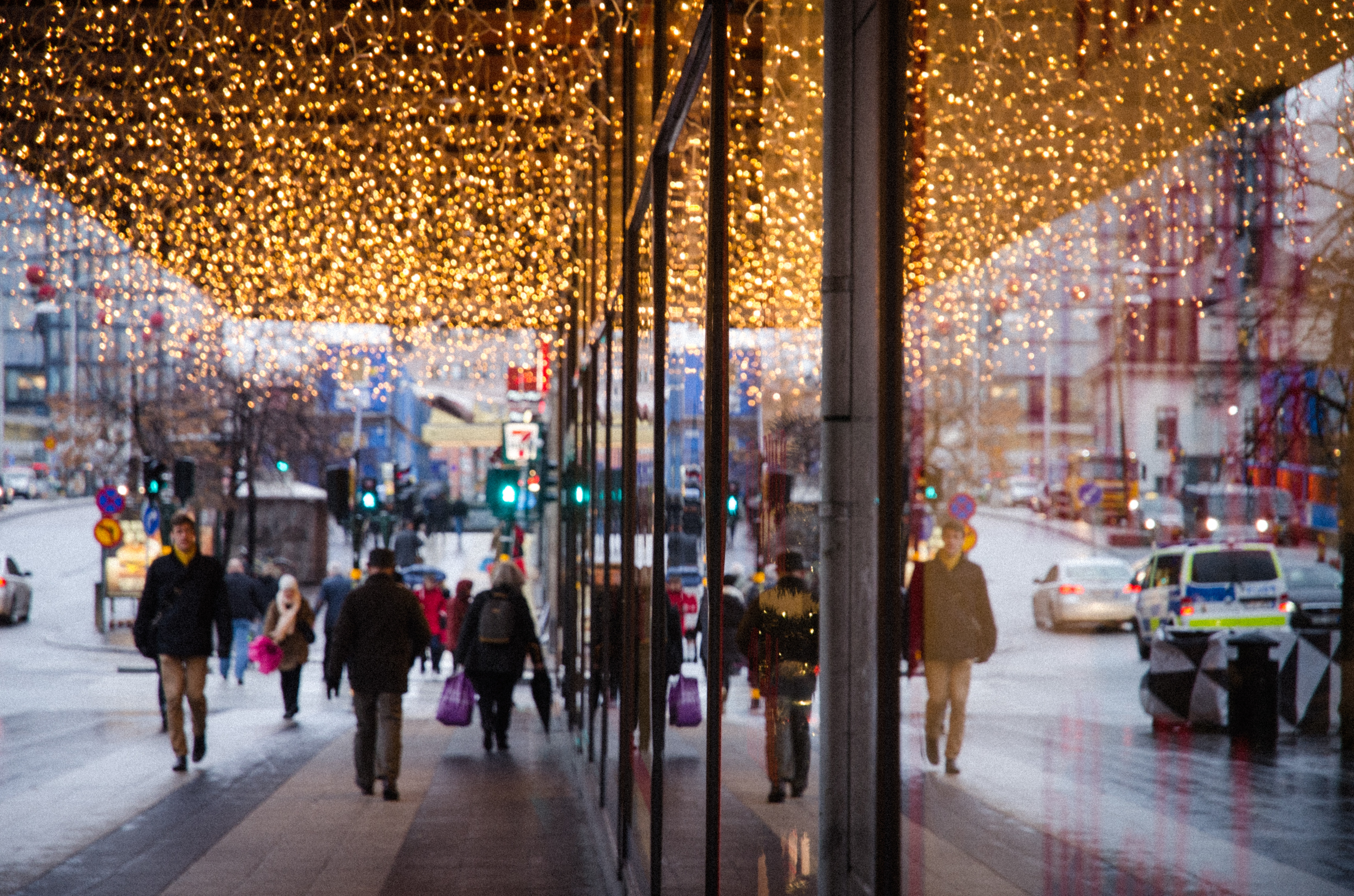 Downtown Christmas lights, Stockholm. Photo: J. Luedee
