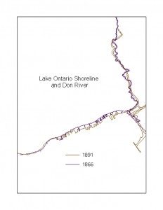 shoreline and river changes between 1866 and 1891