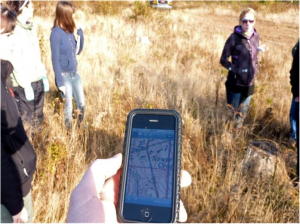 iGIS app displaying location at the edge of an Acadian forest, Newtown Cross, PEI