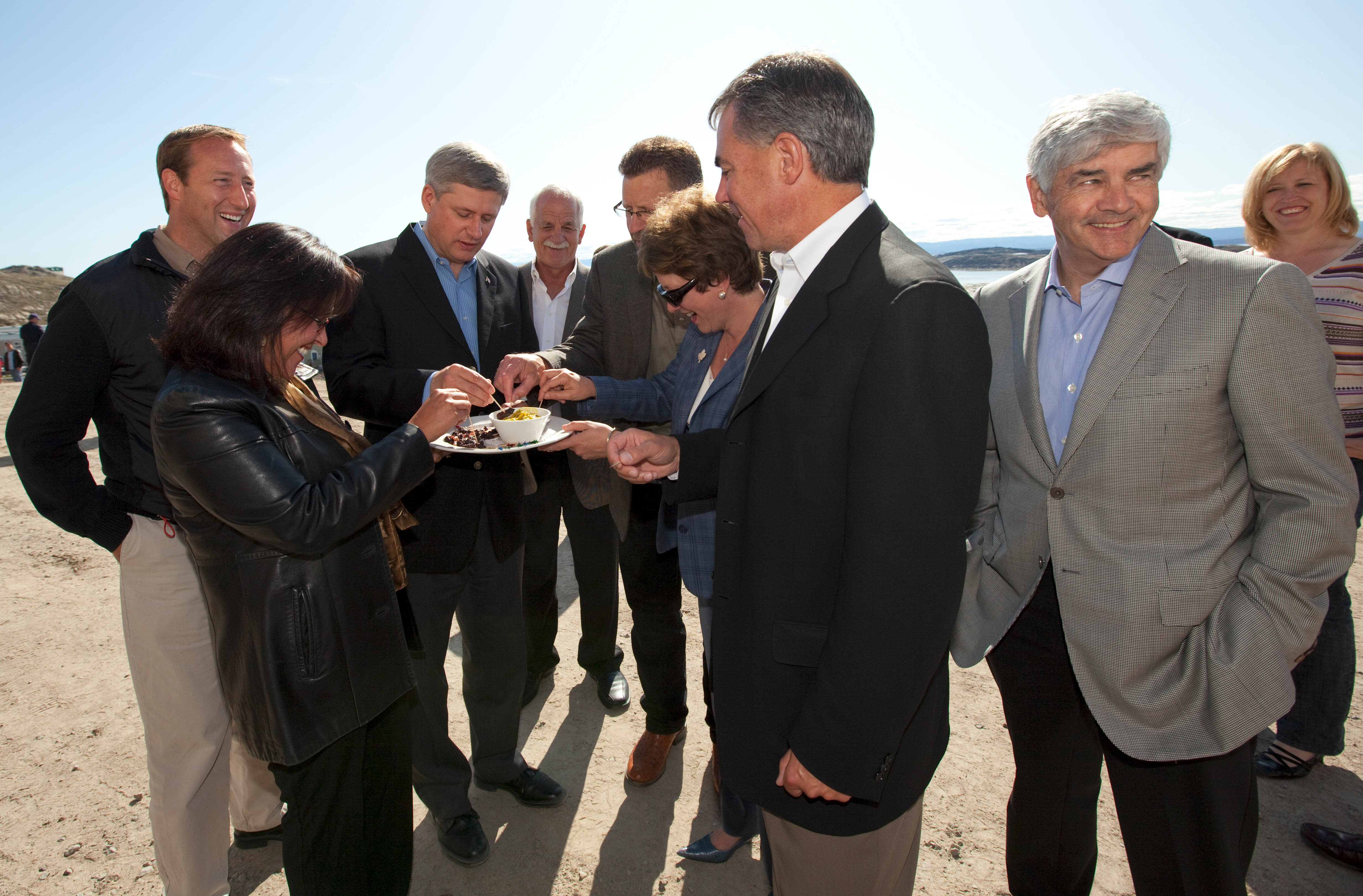 Stephen Harper and cabinet munching seal meat. Photo: Office of the Prime Minister