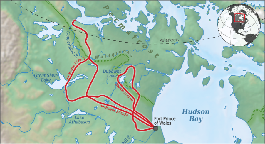 Samuel Hearne's travel route. Image source: Wikimedia Commons.