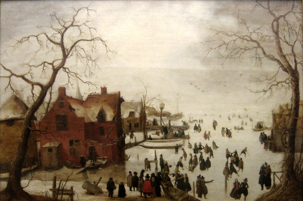 In the winter of 1619/20, travel by boat was impossible. Instead, the Dutch used skates and horse-drawn or even sail-propelled sleds. Hendrick Avercamp, Winter Scene, 1620