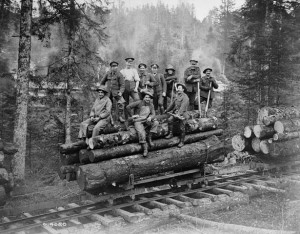 Canadian Forestry Corps Personnel Loading Timber Source: Canada. Dept. of National Defence / Library and Archives Canada / PA-003399