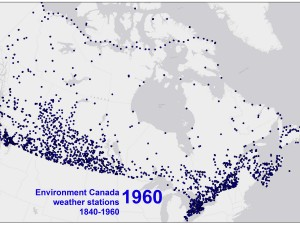 Environment Canada weather stations, 1840-1960. Source: J MacFadyen