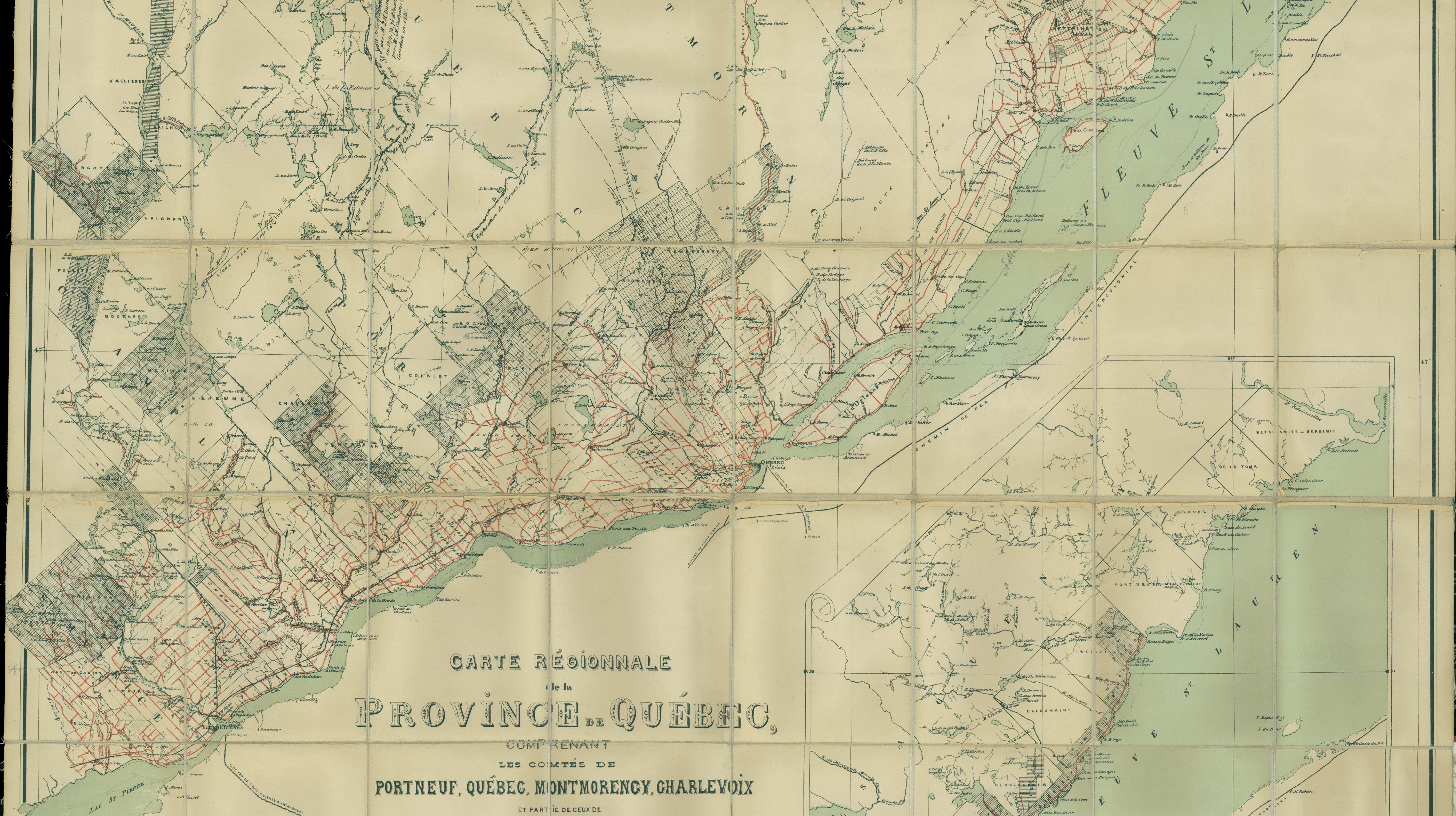 Carte régionale de la province de Québec, 1880, BANQ