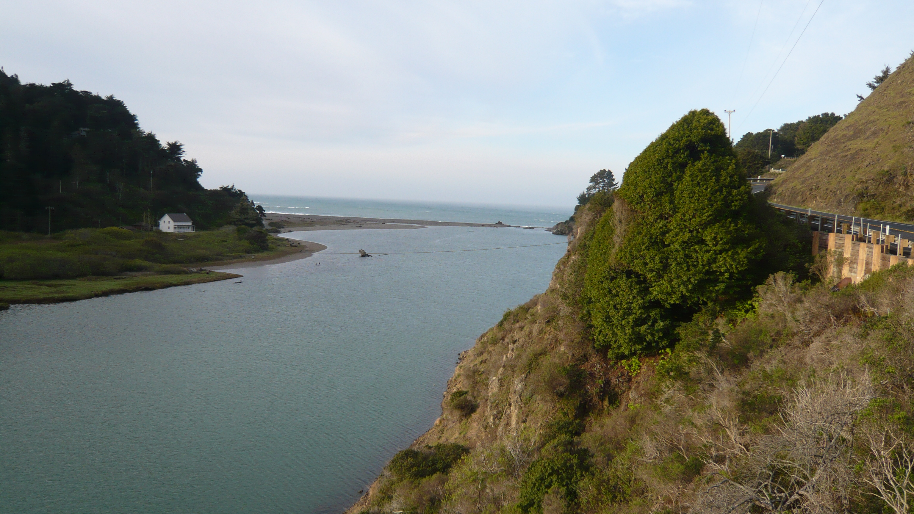 Navarro River, reaching the Pacific, March 2014