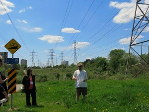 Stacy Nation-Knapper and Tom Peace introduce the Iroquoian village that was located on the site of this hydro corridor along Black Creek. Photo: Sara Spike