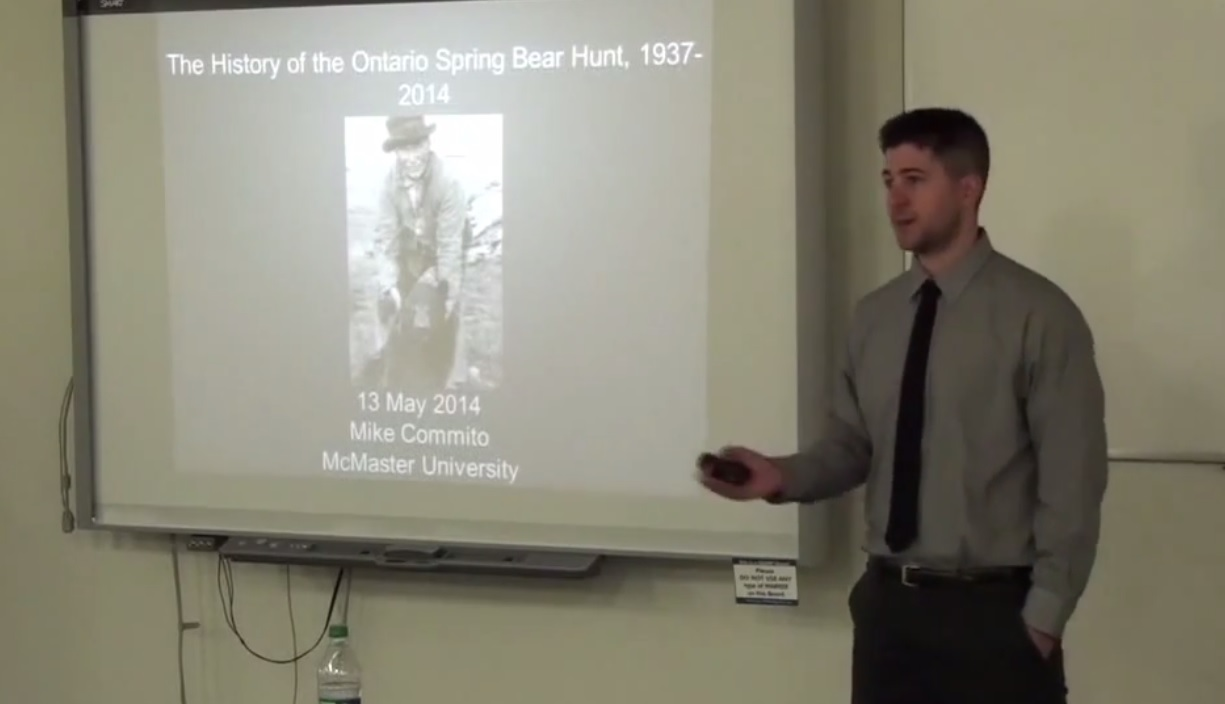 Michael Commito lecture, The History of the Ontario Spring Bear Hunt, 2014