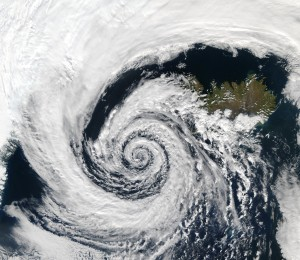 """Low pressure system over Iceland"" by NASA"