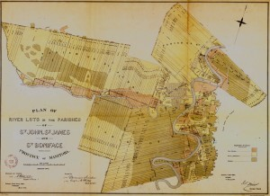 Plan of River Lots in the Parishes of St John, St. James and St Boniface (1874)