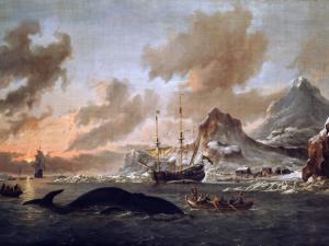 """Dutch whalers at Spitsbergen in the seventeenth century. Abraham Storck, """"Walvisvangst bij de kust van Spitsbergen,"""" 1690"""