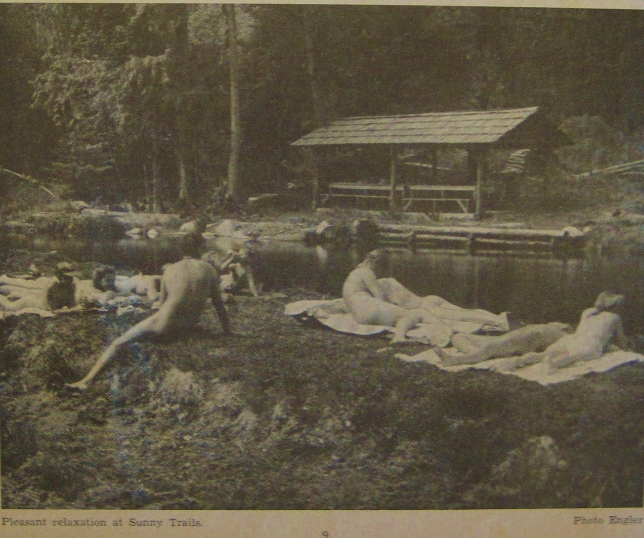 """Pleasant relaxation at Sunny Trails,"" Sunbathing for Health 11, no.9, April 1958"