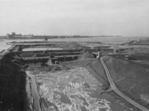 Construction of St. Lawrence Seaway, 1950s. Source: Wilfrid Laurier University Archives & Special Collections.