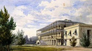 Watercolour sketch of the Royal Naval Hospital, Bermuda, built possibly with timber from Nova Scotia or New Brunswick.  The Johnson Savage MD Collection, Royal Artillery, ca.1830s  (Courtesy of the National Museum of Bermuda)