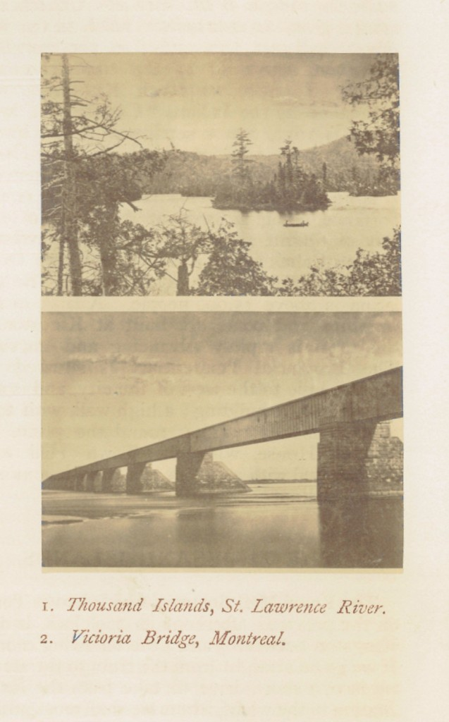 """Alexander Henderson, """"Thousand Islands, St. Lawrence River"""" and  """"Victoria Bridge, Montreal"""" in C.R.Chisholm's All-round route guide (Montreal, Que.: Montreal Printing and Publish. Co., 1869), 42. From the collection of Library and Archives of Canada."""