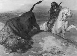 """Buffalo Hunting"" (Rebellion of 1837-38) c.1839; Coke Smyth; Lithographed by A. Ducote, London, HBCA P-39. Courtesy of Hudson's Bay Company Archives, Archives of Manitoba."