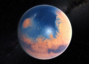 An artist imagines what Mars once looked like. Credit: ESO/M. Kornmesser/N. Risinger (skysurvey.org)