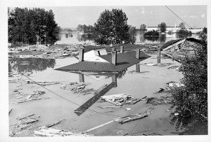 "Submerged Buildings in Vanport, 1948 Source: Oregon Historical Society ; ""How Oregon's Second Largest City Vanished in a Day,"" Smithsonian.org"
