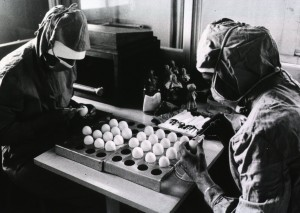 Preparation of measles vaccine at the Tirana Institute of Hygiene and Epidemiology WHO photo by D. Henrioud. [n.d., likely 1973]. Images from the History of Medicine (NLM) http://ihm.nlm.nih.gov/images/A14098.