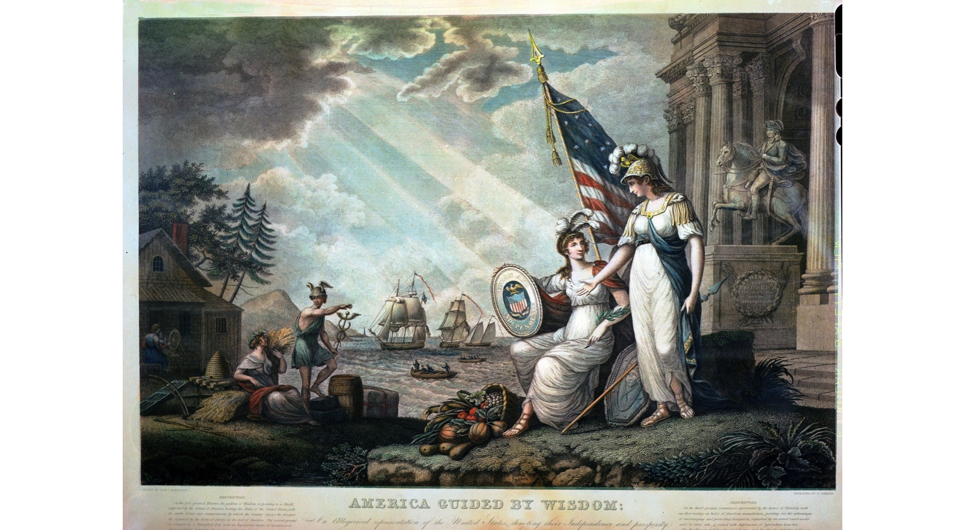 America Guided by Wisdom, John J. Barralet (1820)