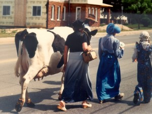 Bicentennial Parade from Vineland Mennonite Church featuring 'Acculturated' Mennonite women celebrating the Dairy Cow, 1989. Credit: Mennonite Archives of Ontario, Waterloo  ON CA MAO 1990-8 1