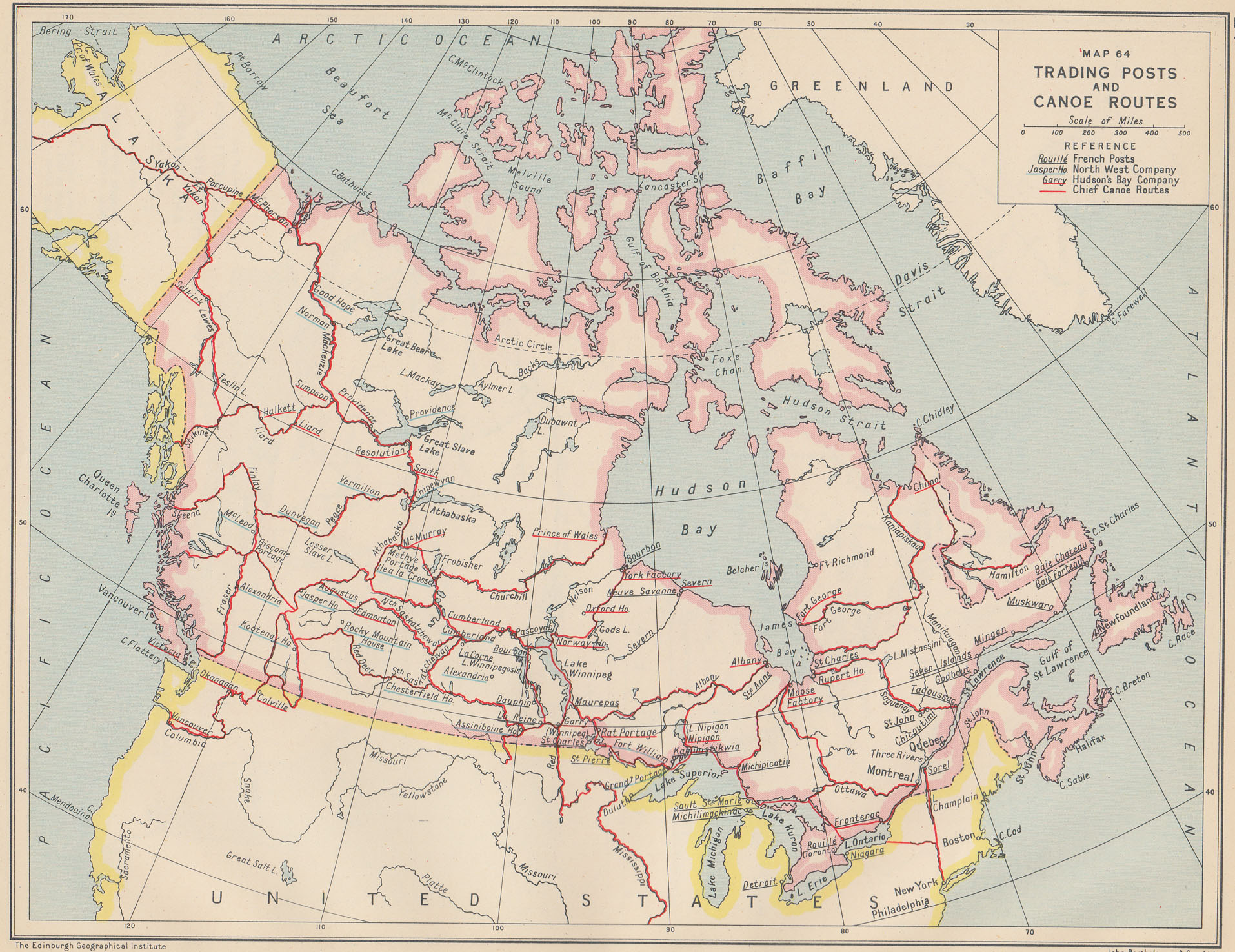 "Lawrence J. Burpee, ""Trading Posts and Canoe Routes,"" [1:27,000,000] An Historical Atlas of Canada (Toronto: Thomas Nelson and Sons, 1927), Map 64."