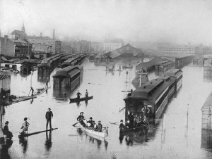 Inondation, gare Bonaventure, Montréal, QC, 1886, George Charles Arless, Musée McCord