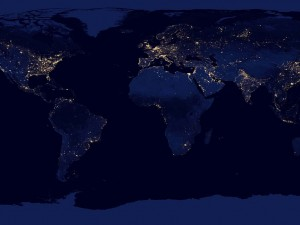 Composite view of Earth at night from the Suomi NPP satellite, Dec 2012 http://www.nasa.gov/mission_pages/NPP/news/earth-at-night.html