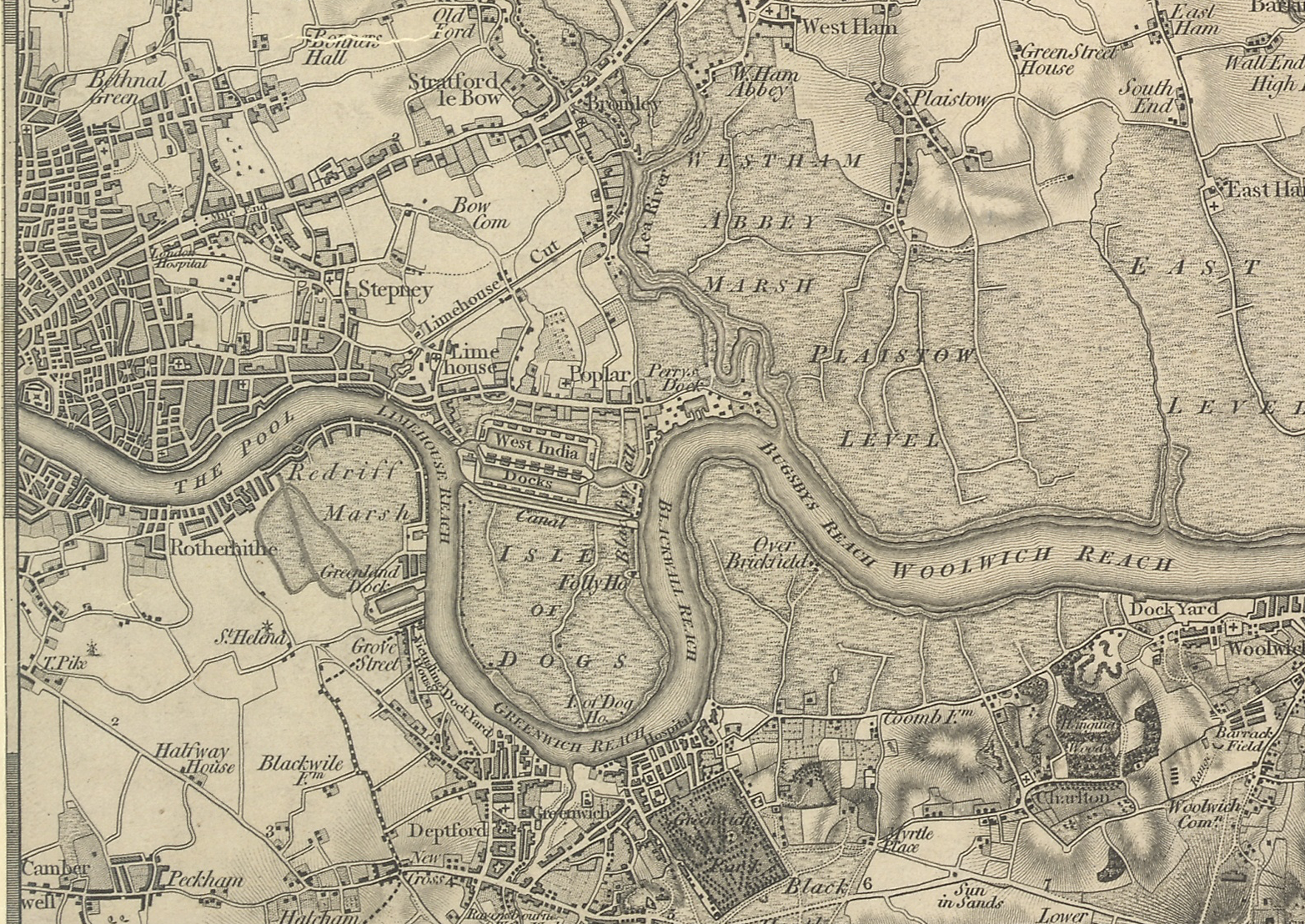 East London and Thames Estuary from the OS Sheet 1, 1805. This work is based on data provided through www.VisionofBritain.org.uk and uses historical material which is copyright of the Great Britain Historical GIS Project and the University of Portsmouth.