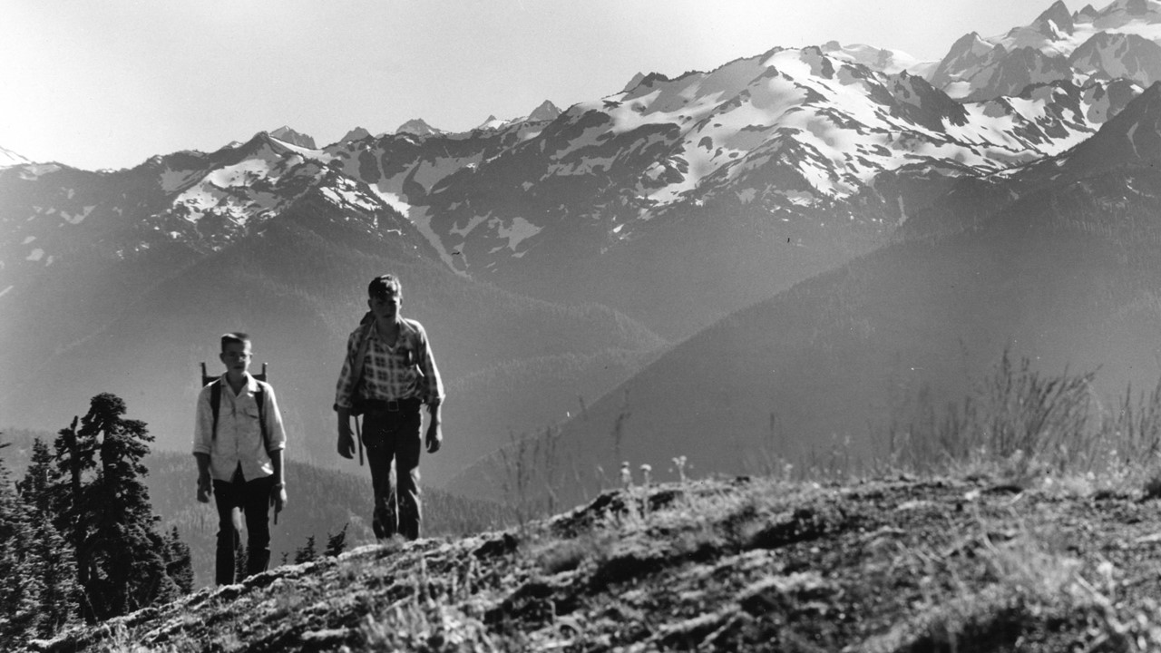 Hiking, Olympic National Park, 1945-1965. Source: General Subjects Photograph Collection, 1845-2005, AR-28001001-ph001712, Washington State Archives. Original images held at the Washington State Archives, Olympia, WA.