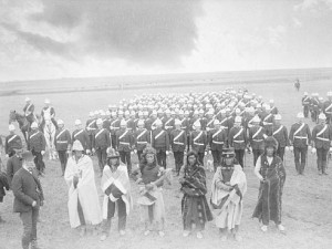 Chief Piapot and warriors with Lt-Governor Dewdney, 1885. Source: Library and Archives Canada, 3247947.