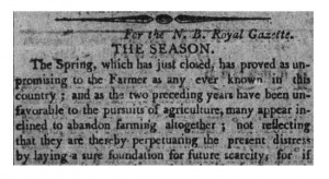 New Brunswick Royal Gazette, 11 May 1816.
