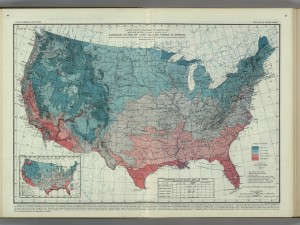 """Average Dates of Last Killing Frost in Spring,"" William Reed Gardner, Charles Franklin Brooks, and F.J. Marschner, 1916. David Rumsey Map Collection"