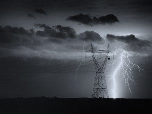 """""""Prairie Rural Electric"""" Print from 35 mm black and white film, taken in the early 1990s, off of Highway 2, north of Nanton, Alberta. (James Opp, All rights reserved)"""