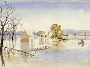 """""""Maugerville on the St. John River, New Brunswick"""" (1853/1854). Photograph of William Smyth Maynard Wolfe's painting. Library and Archives Canada/William Smyth Maynard Wolfe Collection /e010767825"""