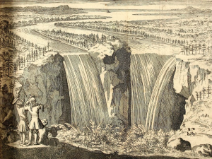 Niagara Falls, in Louis Hennepin, A new discovery of a vast country in America, extending above four thousand miles, between New France & New Mexico; with a description of the Great lakes, cataracts, rivers, plants, and animals (London: Henry Bonwicke, 1699), opposite page 22. Public domain via University of Pittsburgh Library at archive.org.